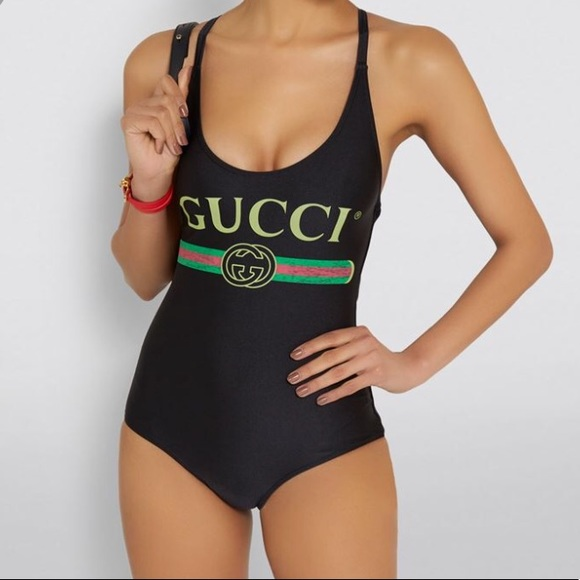 2b8022c7085 Gucci Other - New GUCCI Black Sparkling Logo Swimsuit S